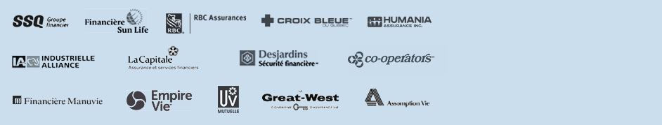 SSQ, Sun Life, RBC, Croix Bleue, Humania, Industrielle Alliance, La Capitable, Desjardins, Co-Operators, Manuvie, Empire Vie, UV Mutuelle, Great West, Assomption Vie sont tous des partenaires d'AssuranceCollectiveEnLigne.ca